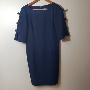 DKNY Navy 3/4 Sleeve Shift Dress